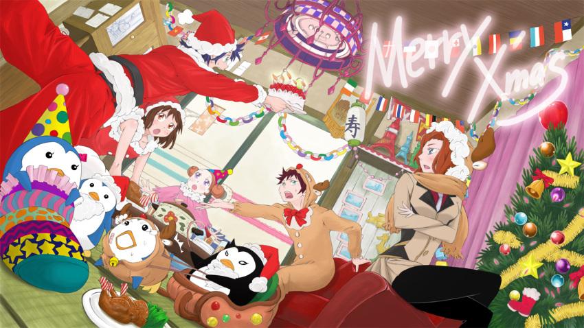 bird blue_hair bob_cut brown_eyes brown_hair cake christmas deer_costume food gloves green_eyes hat highres kazuo_daisuke long_hair mawaru_penguindrum natsume_masako oginome_ringo pantyhose penguin penguin_1-gou penguin_2-gou penguin_3-gou purple_eyes red_hair redhead reindeer_costume santa_costume santa_hat siblings takakura_himari takakura_kanba takakura_shouma violet_eyes