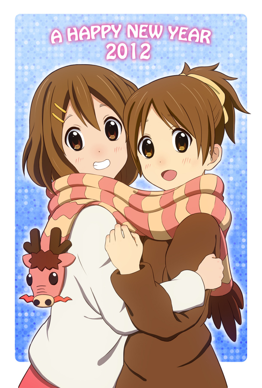 brown_eyes brown_hair dragon highres hirasawa_ui hirasawa_yui hug k-on! kanikani multiple_girls ponytail scarf school_uniform shared_scarf short_hair siblings sisters