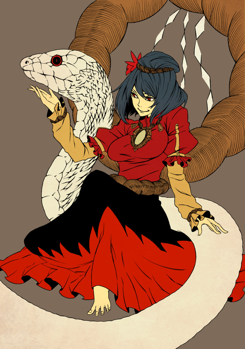 barefoot feet highres iro_marimo mishaguji purple_hair red_eyes shide shimenawa short_hair smile snake solo toes touhou white_snake yasaka_kanako