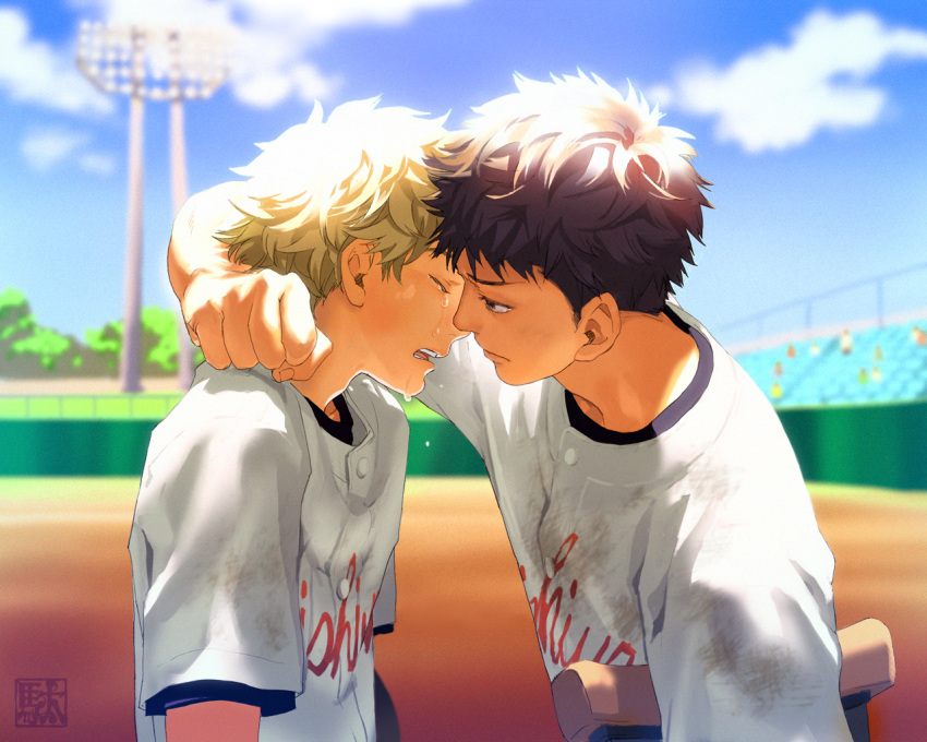 abe_takaya baseball_uniform black_hair brown_hair closed_eyes clothes_writing crutch da_kata eyes_closed face hands mihashi_ren multiple_boys ookiku_furikabutte spoilers sportswear tears