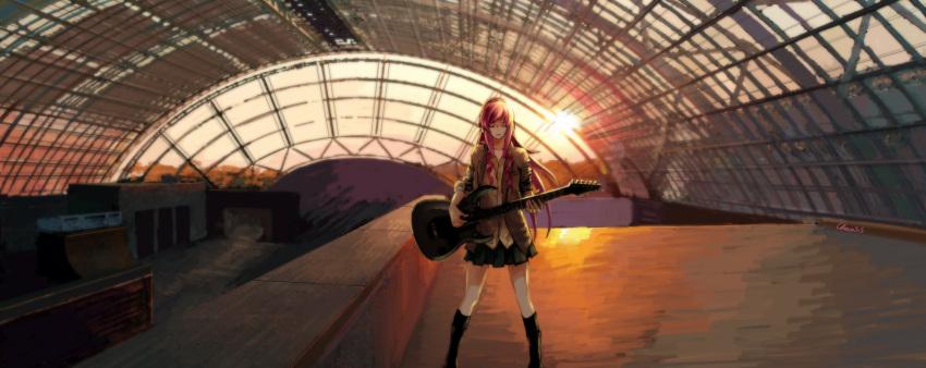 chevasis guitar headphones long_hair megurine_luka pink_hair skirt sunset vocaloid