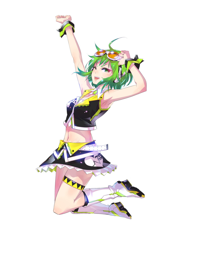 ahoge armpits arms_up bare_shoulders boots goggles goggles_on_head green_eyes green_hair gumi highres looking_at_viewer monq navel open_mouth short_hair simple_background skirt smile solo thigh_strap vocaloid wink wrist_cuffs