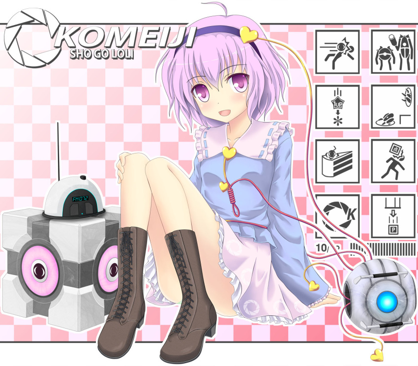 aperture_science_handheld_portal_device blush boots cake crossover eyeball food hairband heart highres komeiji_satori noveske_n4 open_mouth pink_eyes pink_hair portal short_hair smile solo third_eye touhou weighted_companion_cube wheatley