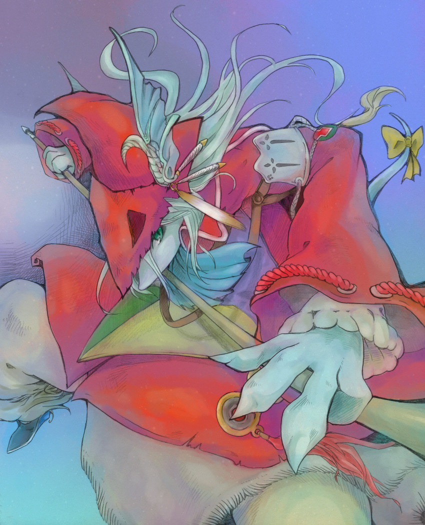 armor burmecian female final_fantasy final_fantasy_ix freija_crescent freya_crescent furry green_eyes hat head_wings highres ino ino_(tellu0120) long_hair polearm rat rat_tail ribbon rodent scarf solo spear tabard tail tail_ribbon video_games weapon white_hair
