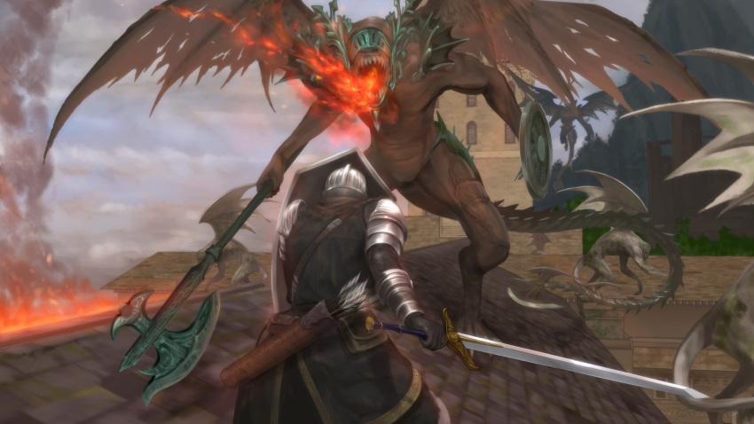 axe battle belfry_gargoyle dark_souls fire full_armor helmet highres knight knight_of_astora_oscar mutsuki_(moonknives) polearm shield sword weapon