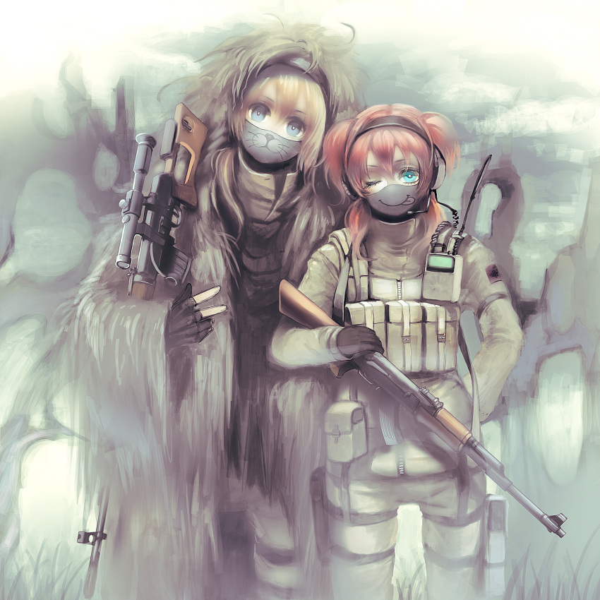 :3 ;p ak-47 ammunition arms army assault_rifle blonde_hair blue_eyes dragunov_svd fingerless_gloves fur_coat ghillie_suit gloves green_eyes gun hairband headphones highres holster load_bearing_vest mask military multiple_girls nicole operator pistol pixiv_army pouch radio red_hair redhead rifle short_twintails sniper sniper_rifle tactical_clothes tongue twintails v walkie-talkie weapon wink