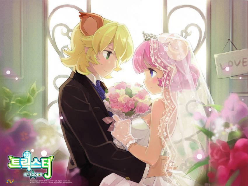 bangs blonde_hair blue_eyes blunt_bangs blush bouquet breasts dress dress_shirt flower gloves green_eyes horns lace lion_(trickster) necktie pink_hair sheep_(trickster) shirt smile transparent trickster veil wedding_dress