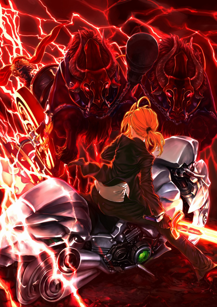 1girl ahoge black_gloves blonde_hair bull cape chariot electricity excalibur fate/zero fate_(series) formal gloves glowing glowing_weapon gordius_wheel highres jian_huang long_hair motor_vehicle motorcycle ox pant_suit ponytail red_hair redhead rider_(fate/zero) saber suit vehicle weapon