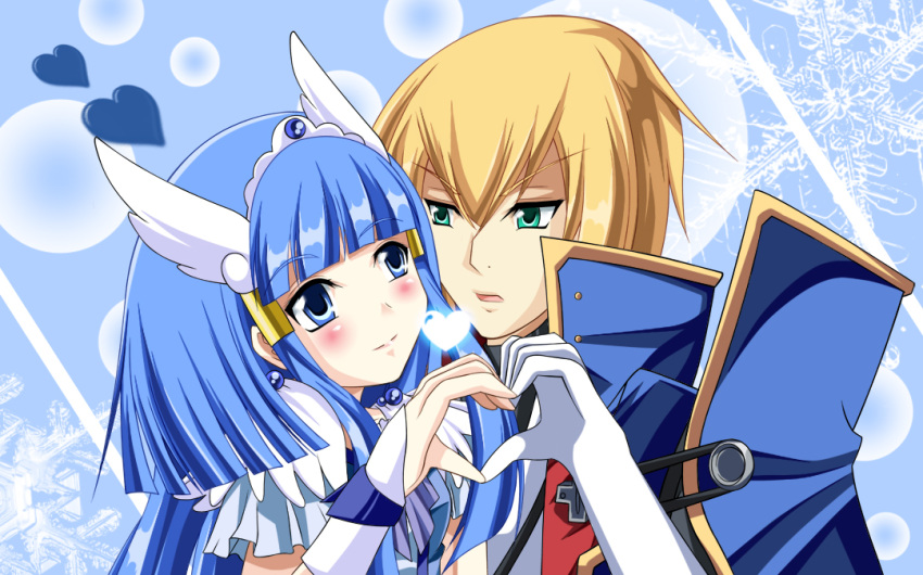 1girl angel_wings aoki_reika aqua_eyes bad_id blazblue blonde_hair blue_background blue_eyes blue_hair blush cape couple crossover cure_beauty eien_no_kurayami eye_contact gem gloves hair_tubes head_hings head_wings heart heart_hands heart_hands_duo hime_cut ice_crystal japanese_clothes jewelry jin_kisaragi kisaragi_jin long_hair looking_at_another military military_uniform power_connection precure ribbon smile_precure! tiara uniform wings