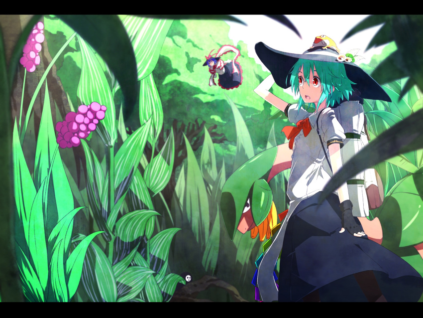 alternate_hair_length alternate_hairstyle arakune backpack bag black_gloves blazblue blue_hair fingerless_gloves flying frog gloves hat highres hinanawi_tenshi ibuki_notsu letterboxed multiple_girls nagae_iku notsugimi plant pokemon purple_hair randoseru red_eyes shawl short_hair touhou tropius