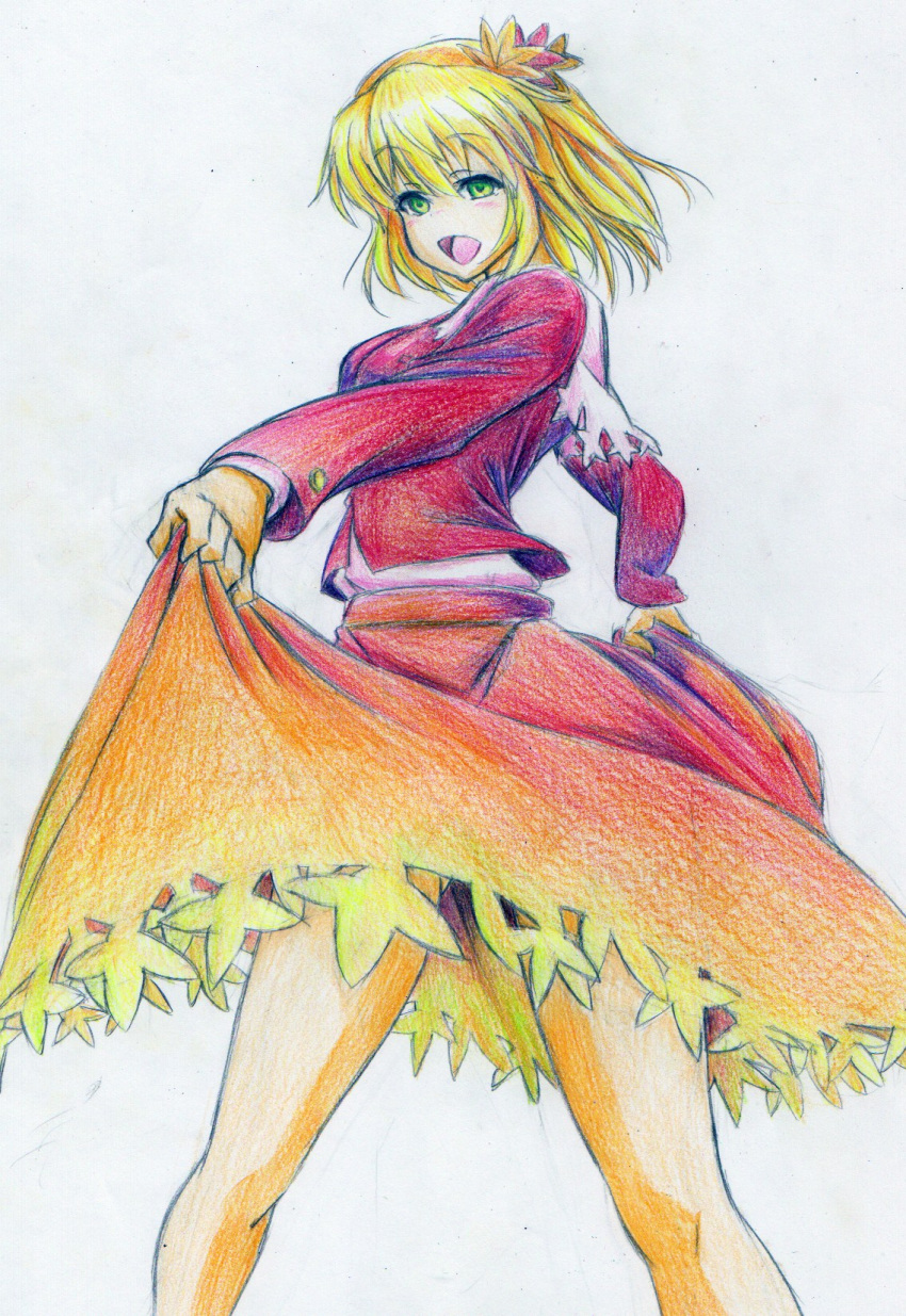 :d aki_shizuha blonde_hair blouse colored_pencil_(medium) curtsey green_eyes hair_ornament happy highres kitazinger laughing leaf legs maple_leaf open_mouth simple_background skirt smile solo touhou traditional_media upskirt white_background