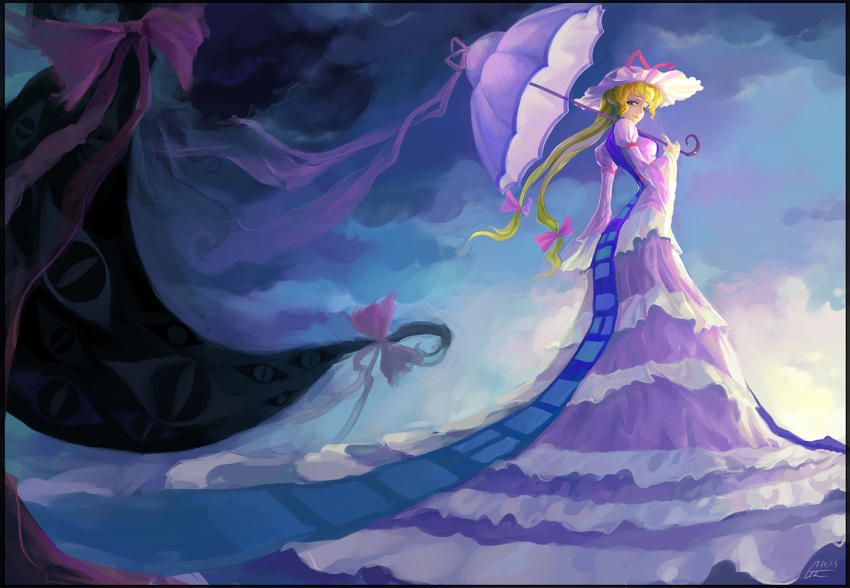 blonde_hair bow dress eyes gap hair_bow hat long_dress long_hair solo touhou umbrella very_long_hair yakumo_yukari yu_li