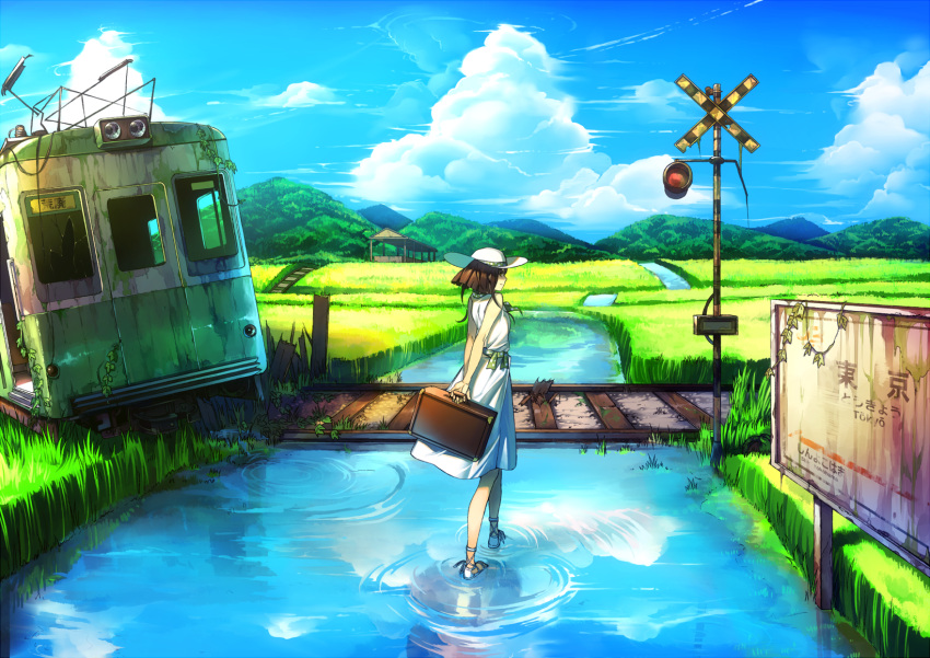 brown_hair cloud clouds grass hat highres holding landscape original railroad_crossing railroad_tracks ruins scenery shikihara_mitabi sign sky solo standing_on_water suitcase train water