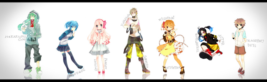 2boys 4girls apron aqua_hair artist_request bad_id black_hair blonde_hair blue_hair brown_hair creator_connection dress frills green_hair grey_hair hairband hanagerian headphone_actor_(vocaloid) highres hoodie jacket jinzou_enemy_(vocaloid) kagerou_days_(vocaloid) kisaragi_attention_(vocaloid) konoha_no_sekai_jijou_(vocaloid) letterboxed lineup long_hair long_sleeves mekakushi_cord_(vocaloid) microphone orange_hair pink_hair ponytail red_eyes shoes short_hair shorts silver_eyes skirt sneakers souzou_forest_(vocaloid) thigh_highs thighhighs twintails vocaloid wink