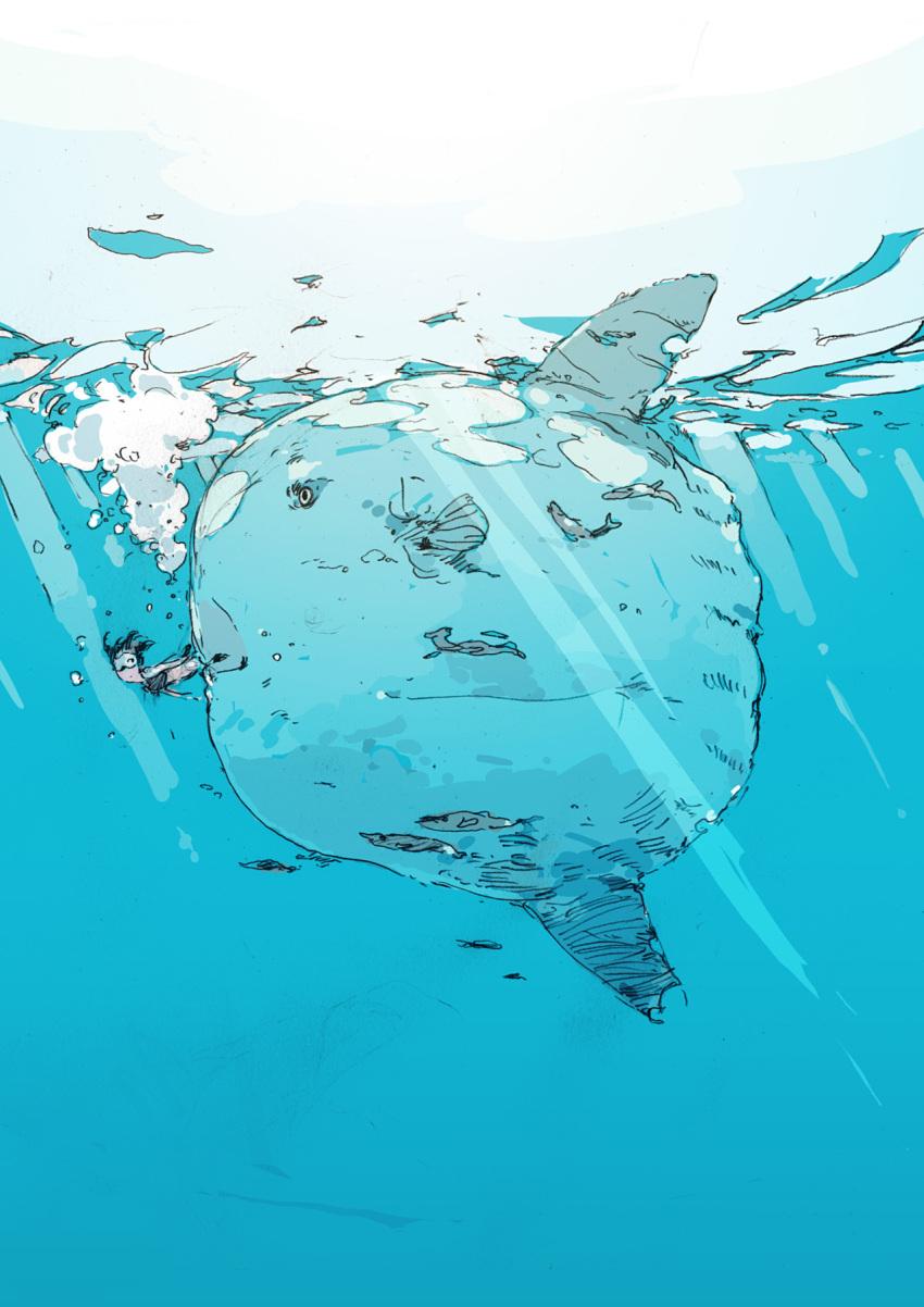 blowfish copyright_request fish goggles highres mola ocean ocean_sunfish sunfish swimwear uki_atsuya water