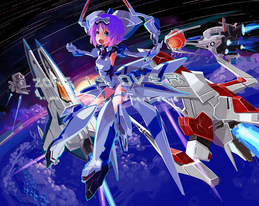 aqua_eyes arrowhead_(r-type) darius elbow_gloves exelica force_(r-type) gloves gradius mecha_musume one-piece_swimsuit open_mouth outstretched_arms purple_hair r-type school_swimsuit short_hair silver_hawk smile solo space space_craft spread_arms swimsuit swimsuit_costume trigger_heart_exelica vic_viper white_school_swimsuit xanado