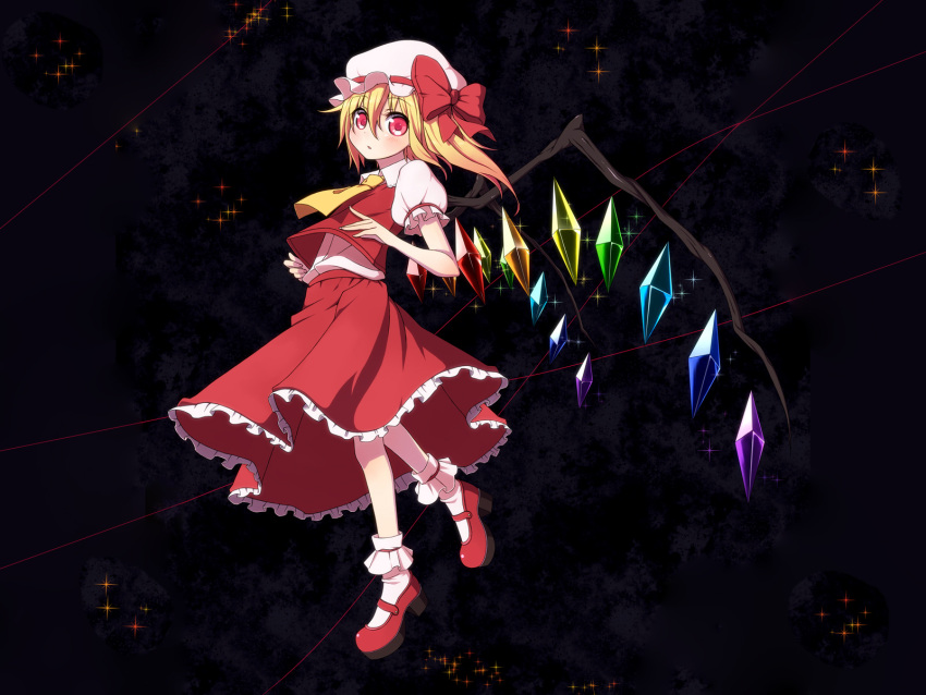 blonde_hair chika flandre_scarlet hat loli ponytail red_eyes short_hair touhou wings