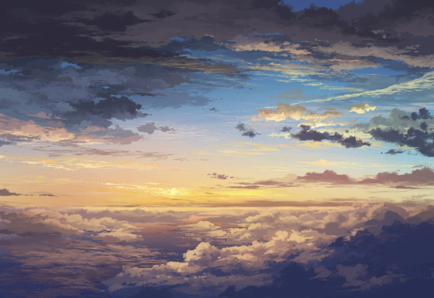 cloud from_above highres horizon juuyonkou no_humans no_lineart original scenery scenic sky sunset