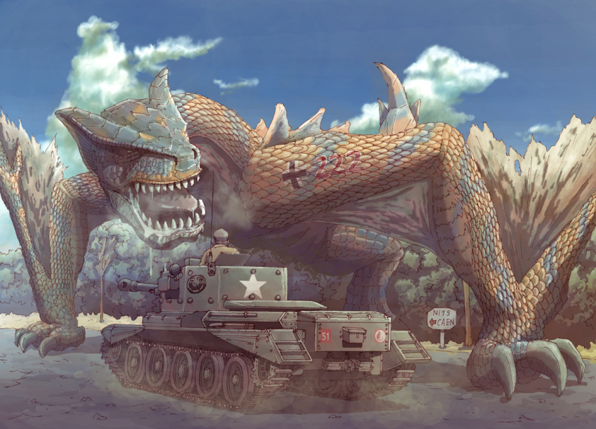 cromwell_(tank) dragon earasensha military military_vehicle monster_hunter pun tank tigrex vehicle world_war_ii