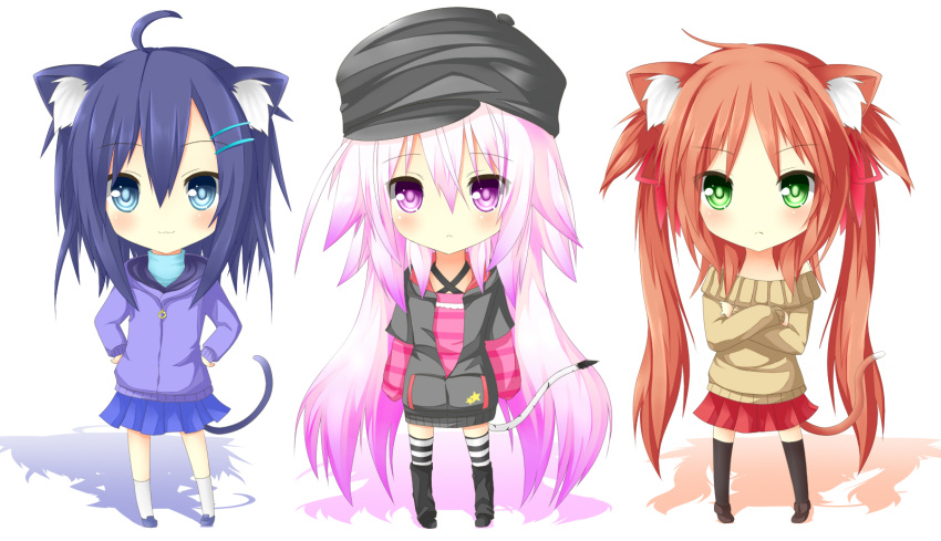 3girls :3 blue_eyes blue_hair blush catgirl cha_ha_neko chibi green_eyes hat long_hair original pink_eyes pink_hair redhead sweater tail thigh-highs twintails