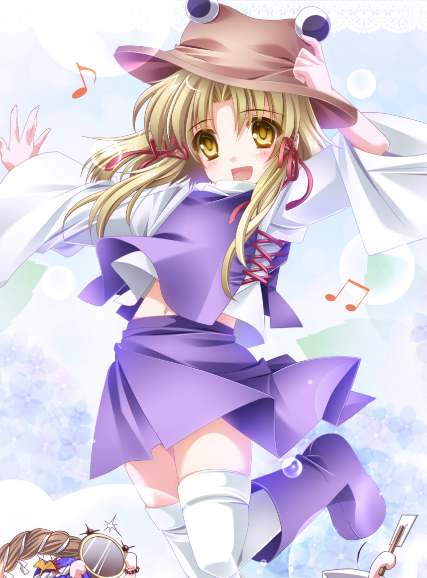 1girl blonde_hair blush boots eyes gohei hat highres kochiya_sanae long_hair moneti_(daifuku) moriya_suwako multiple_girls musical_note navel shimenawa solo thigh-highs thighhighs touhou white_legwear yasaka_kanako yellow_eyes