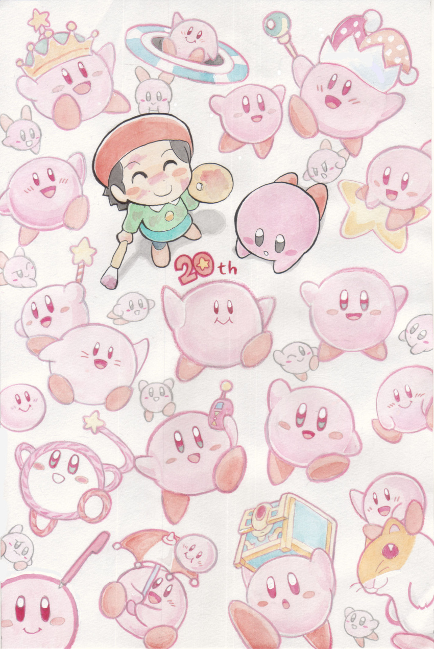 10s 1girl 2012 6+others adeleine anniversary art_brush atsumete!_kirby blush_stickers crown english from_above hal_laboratory_inc. hamster highres hoshi_no_kirby hoshi_no_kirby:_yume_no_izumi_deluxe hoshi_no_kirby:_yume_no_izumi_no_monogatari hoshi_no_kirby_(game) hoshi_no_kirby_2 hoshi_no_kirby_3 hoshi_no_kirby_64 hoshi_no_kirby_kagami_no_daimeikyuu hoshi_no_kirby_super_deluxe hoshi_no_kirby_ultra_super_deluxe hoshi_no_kirby_wii keito_no_kirby kirby kirby's_avalanche kirby's_dream_course kirby's_epic_yarn kirby's_pinball_land kirby's_star_stacker kirby_(series) kirby_and_the_amazing_mirror kirby_bowl kirby_canvas_curse kirby_no_ea_raido kirby_no_kira_kira_kids kirby_no_pinball nintendo oda_takashi open_mouth paintbrush pink_puff_ball rick_(kirby) scepter smile standing star touch_kirby! treasure_chest umbrella wand