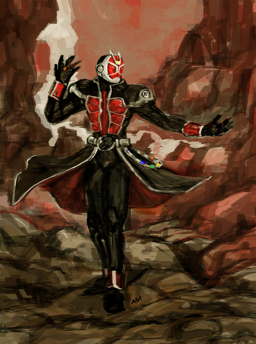 absurdres belt highres jewelry kamen_rider kamen_rider_wizard kamen_rider_wizard_(series) male mask ring solo tailcoat