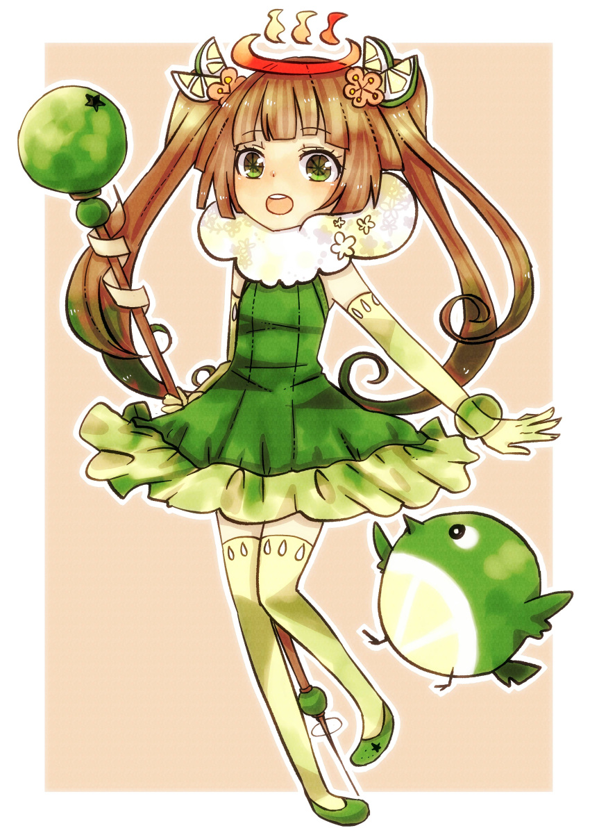 1girl :o absurdres artist_request bird brown_hair character_request dress elbow_gloves food fruit gloves green_eyes hair_ornament highres lime_(fruit) long_hair magical_girl masaki_natsume open_mouth original pigeon-toed sepia_background shoes sleeveless solo staff star star-shaped_pupils symbol-shaped_pupils thigh-highs thighhighs twintails yellow_legwear zettai_ryouiki