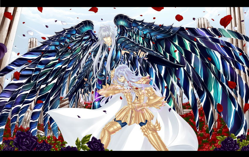 armor black_rose blue_sky fighting fighting_stance full_armor greek_columns griffon_minos male multiple_boys outdoors pisces_albafica rose rose_petals saint_seiya saint_seiya:_the_lost_canvas