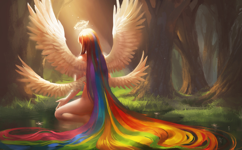 angel bare_legs copyright_notice feathered_wings flower forest from_behind glowing grass halo highres long_hair multiple_wings nature nude original rainbow_hair sakimichan solo squatting sunlight tree very_long_hair water watermark web_address wings