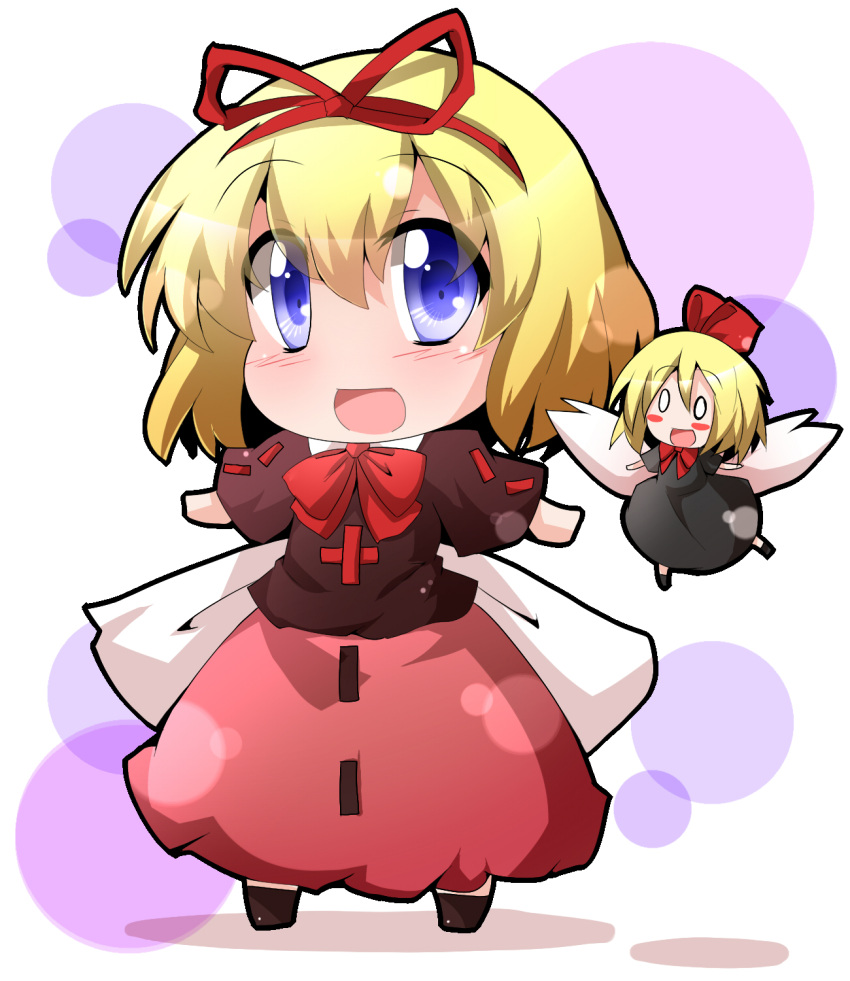 black_dress blonde_hair blouse blue_eyes blush_stickers bow chibi dress fairy_wings hair_ribbon highres hiro_(pqtks113) looking_at_viewer medicine_melancholy o_o open_mouth outline outstretched_arms ribbon shadow short_hair skirt smile solo spread_arms su-san touhou white_background wings