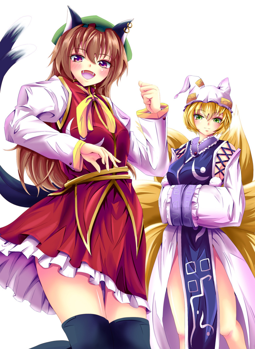 2girls adapted_costume alternate_eye_color animal_ears azusayumi_meme black_legwear blonde_hair brown_hair cat_ears cat_tail chen detached_sleeves earrings fox_tail green_eyes hands_in_sleeves hat highres jewelry long_hair multiple_girls multiple_tails open_mouth purple_eyes short_hair simple_background skirt skirt_set smile tabard tail teenage thigh-highs thighhighs touhou violet_eyes white_background yakumo_ran