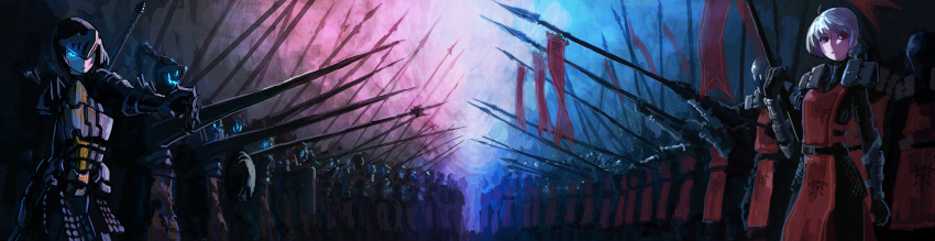 armor blue_eyes chevasis lance photoshop pixiv_fantasia red_eyes spear weapon