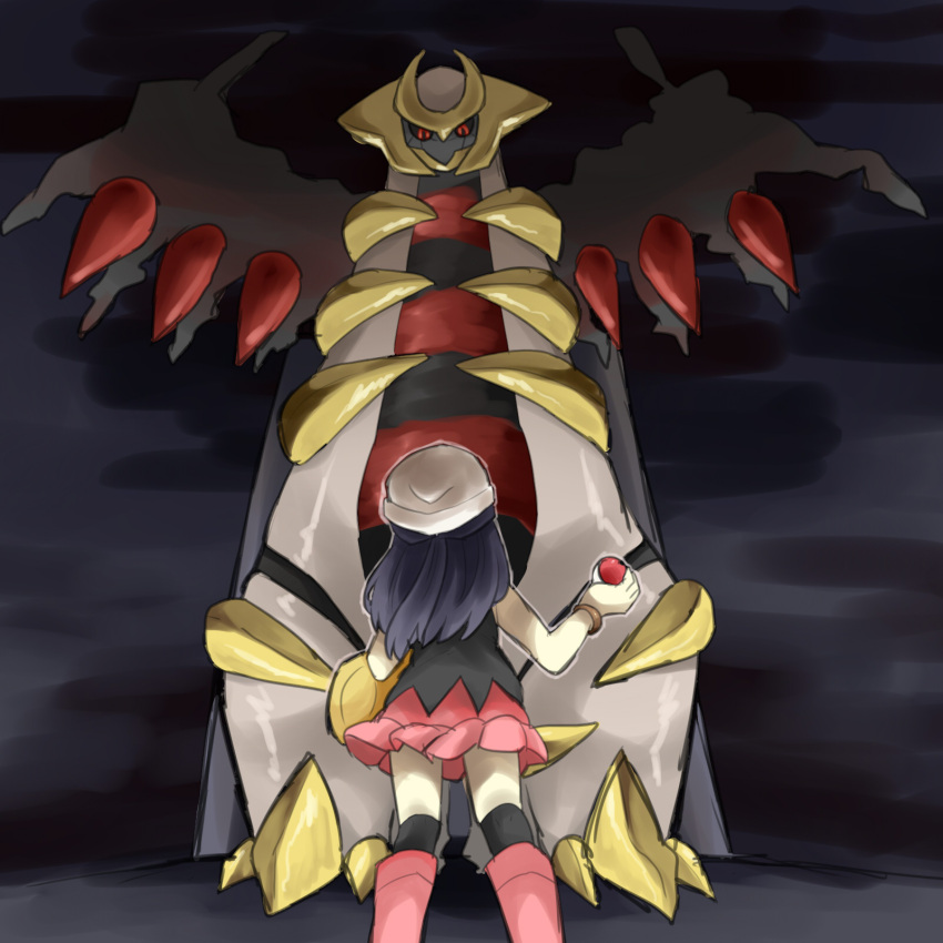 alternate_form beanie black_hair creature creepy darkness giratina hat highres hikari_(pokemon) holding holding_poke_ball long_hair poke_ball pokemon pokemon_(game) pokemon_dppt pumpkinpan skirt