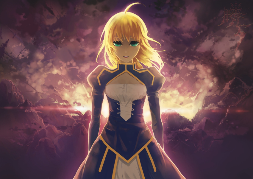 1girl ahoge blonde_hair dress fate/stay_night fate_(series) green_eyes hair_down ko2915277ok long_hair saber solo