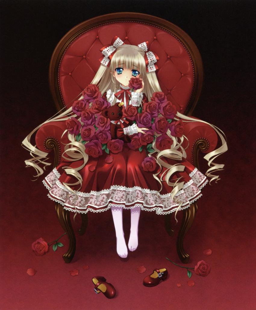 absurdres blonde_hair blue_eyes carnelian chair dress drill_hair flower gothic_lolita hair_ribbon highres lolita_fashion long_hair mary_janes no_shoes original pantyhose possible_duplicate red red_dress red_shoes ribbon rose shoes shoes_removed stuffed_animal stuffed_toy teddy_bear twintails two_side_up