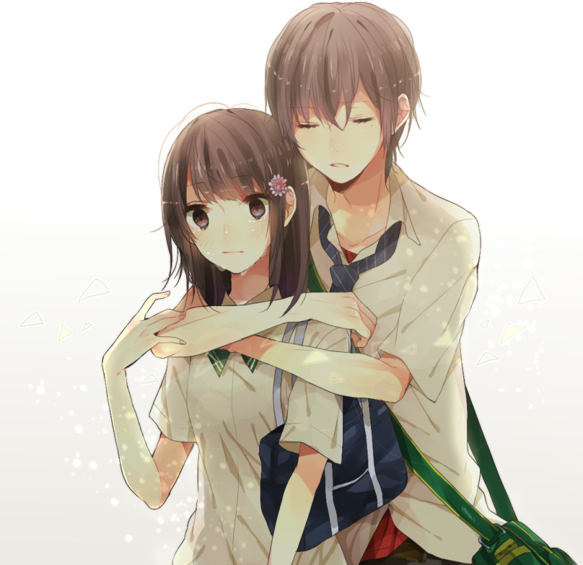 1girl bag brown_eyes brown_hair closed_eyes couple eyes_closed flat_chest flower hair_flower hair_ornament hug hug_from_behind long_hair messenger_bag necktie original school_bag school_uniform short_hair shoulder_bag simple_background tears xxxxxymdy
