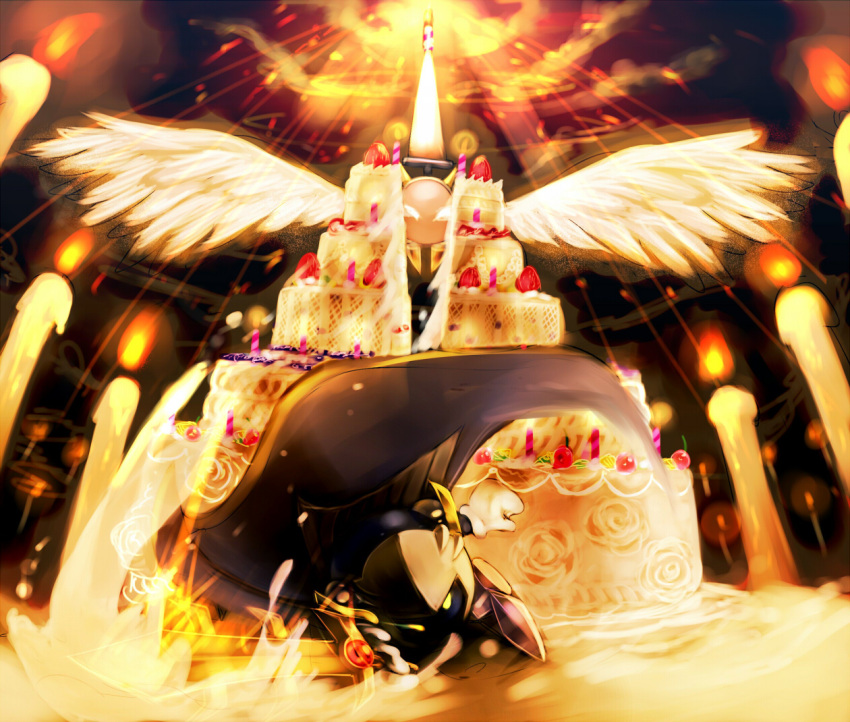 birthday_cake cake candle cape caramel_(artist) character_request food galacta_knight galaxia_(sword) gloves glowing glowing_eyes highres kirby kirby_(series) mask meta_knight no_humans pauldrons sword weapon wings yellow_eyes