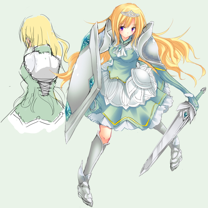 armor blonde_hair circlet highres left-handed long_hair original purple_eyes shield shiraha sketch skirt solo sword sword_art_online violet_eyes weapon