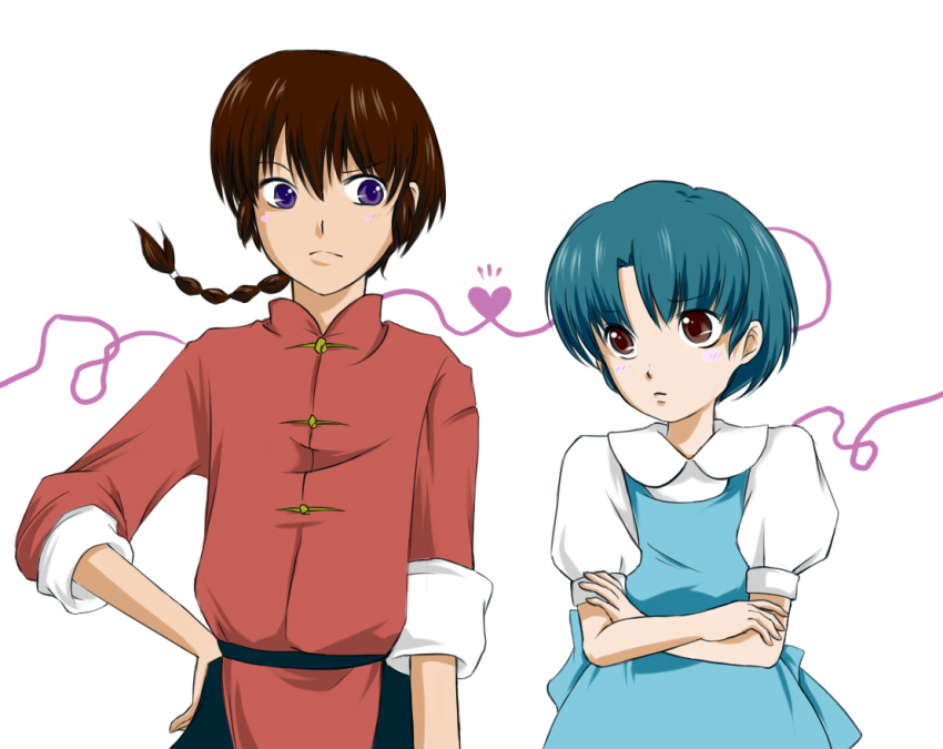 1boy 1girl blue_hair braid brown_eyes brown_hair couple mayuinu ranma_1/2 saotome_ranma short_hair single_braid tendou_akane