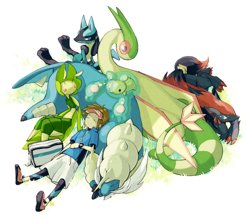 brown_hair flygon grass green jacket kyouhei_(pokemon) leavanny lucario lying male nakatani nintendo pokemon pokemon_(game) pokemon_bw2 reuniclus samurott short_hair sleeping visor_cap watch wristwatch zoroark