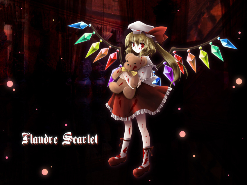 bad_id blonde_hair blood character_name crystal flandre_scarlet hat hat_ribbon highres puffy_sleeves red_eyes ribbon short_hair short_sleeves side_ponytail solo stuffed_animal stuffed_toy teddy_bear teddy_bears touhou wings