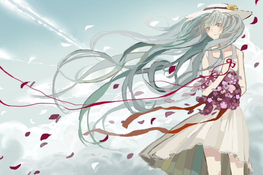 bad_id dress flower hat hatsune_miku kurohal long_hair petals solo very_long_hair vocaloid