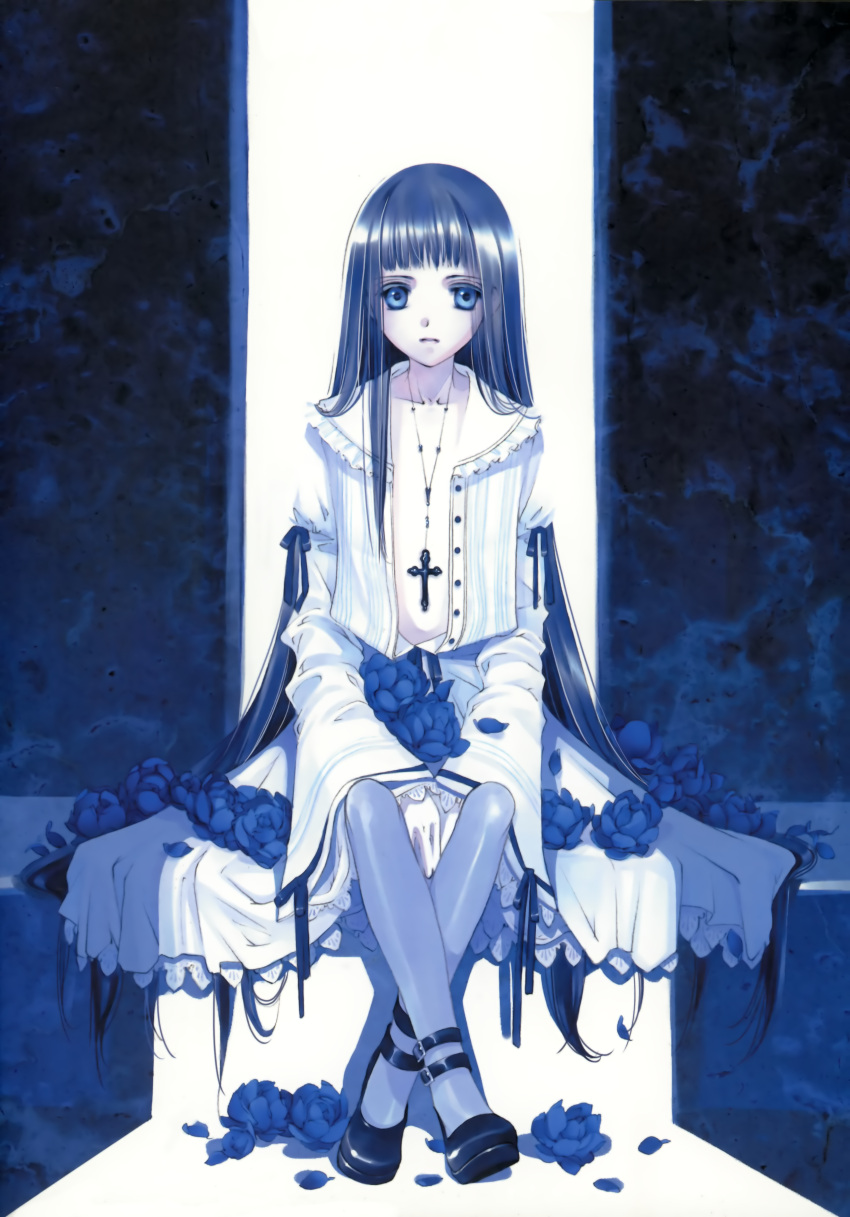 blue_eyes blue_hair blue_legwear buckle buckles center_opening cross dress flat_chest flower frills gothic gothic_lolita highres lolita_fashion long_hair mary_janes no_bra pantyhose petals ribbon shiina_yuu shoes sitting solo very_long_hair