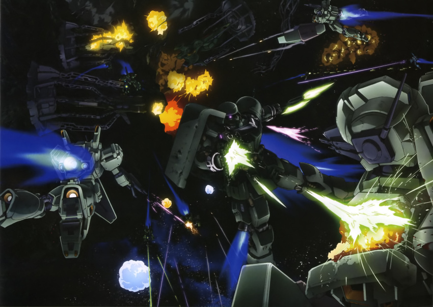 battle beam_rifle explosion gaza-d geara_zulu glowing glowing_eye gun gundam gundam_unicorn highres jegan magazine_scan mecha official_art purple_eyes rezel scan shield space violet_eyes weapon