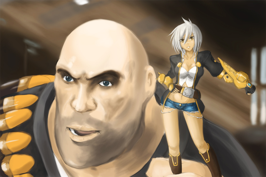 1girl blazblue blazblue:_chrono_phantasma boots breasts bullet_(blazblue) cleavage crossover cutoffs dark_skin denim denim_shorts drawfag namesake object_namesake open_mouth parody pun scar short_hair shorts smile team_fortress_2 the_heavy white_hair yellow_eyes