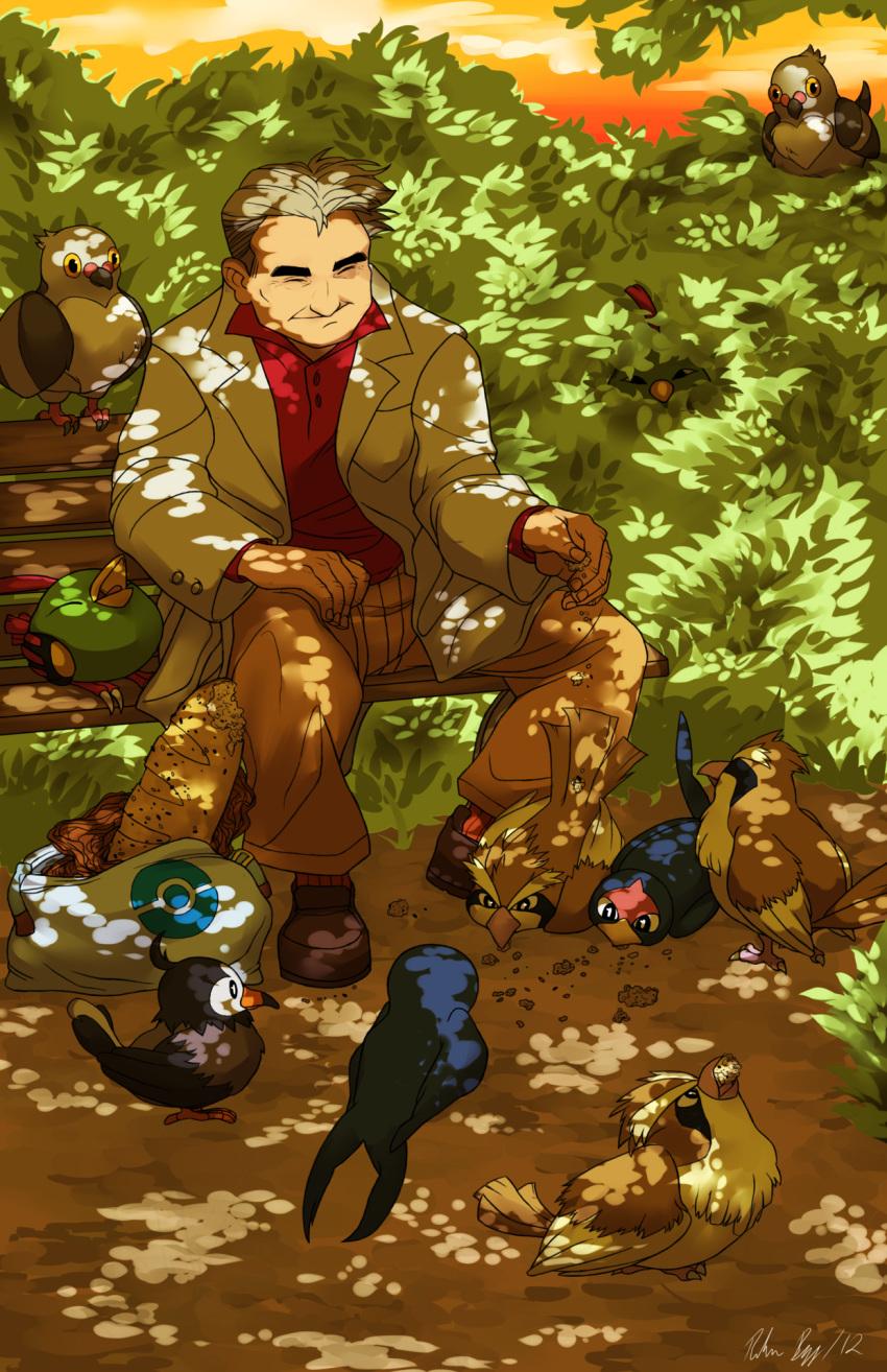 1boy bag bird bread closed_eyes feeding food grass highres labcoat male natu nature ookido_yukinari pidgey pidove pokemon pokemon_(creature) roughreaill short_hair signature sitting smile starly taillow yawning