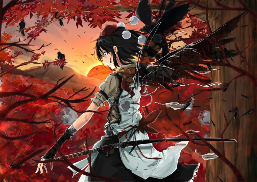 1girl alternate_costume animal bird bird_wings black_hair black_wings cibo_(killy) crow feathers from_behind hat leaf long_image maple_leaf posing puffy_sleeves scabbard shameimaru_aya sheath short_hair short_sleeves solo sunset sword tall_image tokin_hat touhou tree weapon wide_image wings