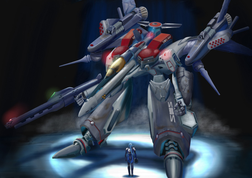 armor blue_hair cannon gerwalk gunpod hangar helmet i.t.o_daynamics macross macross_frontier mecha missile pilot_suit ponytail realistic s.m.s. saotome_alto science_fiction shield spacesuit vf-25 walking