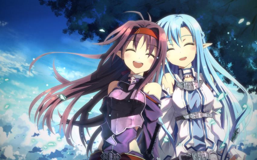 2girls elf long_hair sword_art_online tagme yuuki_tatsuya